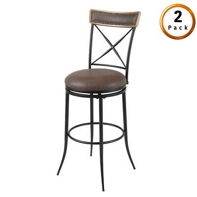 "FBG Boise Metal Swivel Barstools (Set of 2), Black/Charcoal Frame, 30"" - C1X0202"