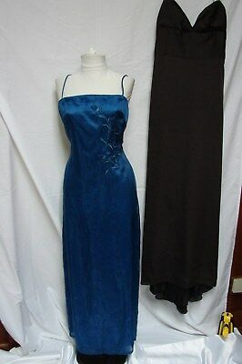 Lot 2 Vintage Dark Chocolate Lazaro & Teal Rampage Formal Gowns Party Dresses