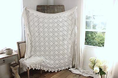 Vintage French hand-made bed cover coverlet crochet  cotton 81X76 GORGEOUS