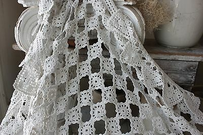 Antique French table cover / crochet textile handmade lace textile