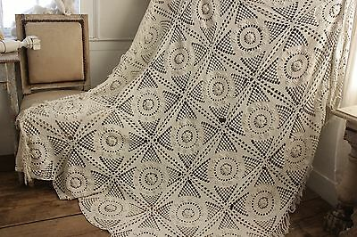 Antique French table cover / crochet textile handmade lace textile 84X67 fringe