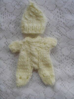 "Doll Clothes Lemon Hand knitted 3 pcs jumpsuit for baby ooak 6"" Berenguer 5"""