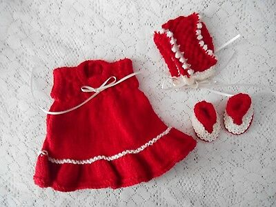 "Doll Clothes Red White Christmas set dress fit 10""12"" Am Char 11"" Cameo 10"""