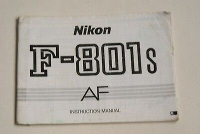 Nikon F801s Instruction Book In Good Used Condition