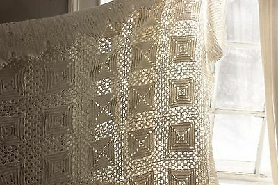 Vintage handmade hand made Crochet coverlet bed cover lace 89X103 large