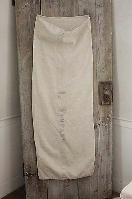 Antique French GRAIN SACK olive plain natural linen
