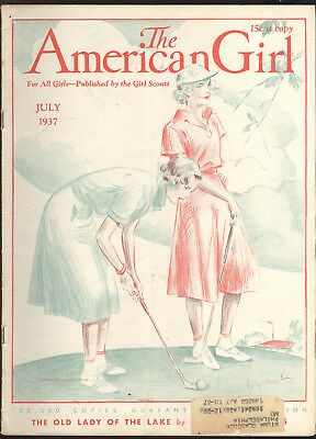 1937 American Girl Magazine, Girls Playing Golf On Cover
