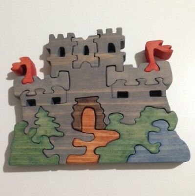 Wood Castle Scroll Saw Puzzle - Handmade - 12 Pieces - Stained