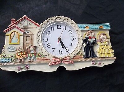 Sweet Home Vintage Wall Clock Quartz Working Kids Playing Music 16x8 Noiseless