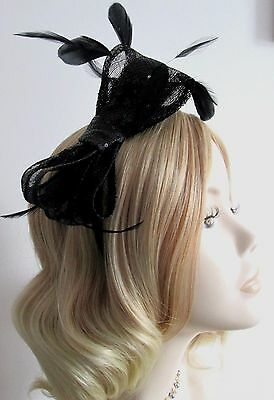 HANDMADE SINAMAY and SEQUIN FASCINATOR, With feathers, Satin headband, Brand new