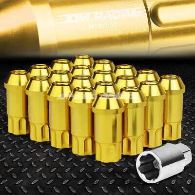 Jdm Open-End Aluminum Gold 20 Lug Nuts/set+Lock Key M12X1.5 25Mm Od/50Mm Tall