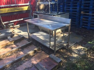 """Stainless Table 66"""" Long x 30"""" Deep x  with 6"""" Back Splash Good Condition"""