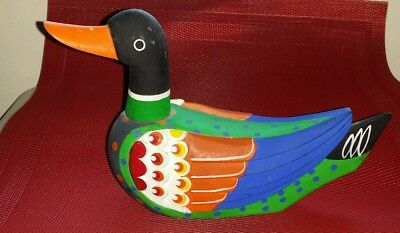 "8.5"" Korean Wedding Duck Brilliant Colors Blue Green Orange Made in Korea"