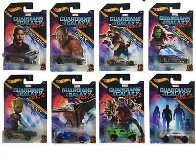 Set of 8 2017 Hot Wheels Marvel Guardians of the Galaxy Groot, Gamora, Drax