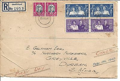 SOUTH AFRICA FDC FIRST DAY COVER 1947 6 STAMPS KVI Queen elizabeth margaret