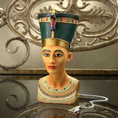 Royal Egyptian Queen Nefertiti Magnetic Crown Trinket Treasure Box Sculpture
