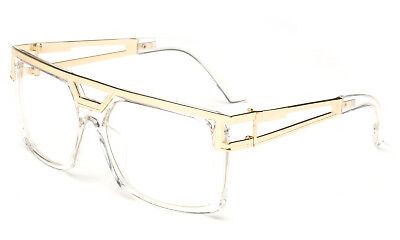 2a3c699456 Clear frame Clear Lens Square Retro Sun Glasses Gold Metal Accents dmc  Square