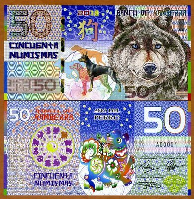 Kamberra, POLYMER, 50 Numismas, 2018, China Zodiac Lunar Year of the Dog