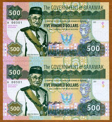 SET Sarawak 2 x $500, 2017 Private Issue, Matching S/Ns UNC > Two Designs