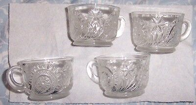Vintage LE SMITH Glass SLEWED HORSESHOE Set 4 PUNCH Bowl CUPS Handle Footed