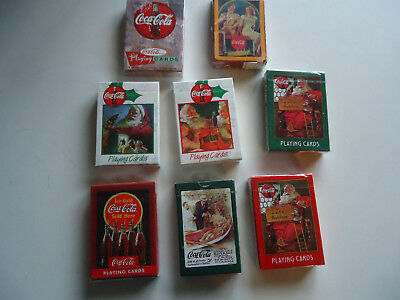 8 deck lot Coca Cola Playing cards Advertising santa Soda gas oil man cave