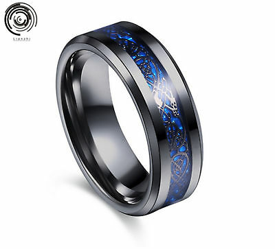 8MM Silvering Celtic Dragon Stainless steel Carbide Ring Mens Jewelry SZ6-13/UK