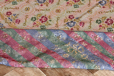 VINTAGE BROCADE GOLD SCROLL ~ FLOWERS BEDSPREAD Queen