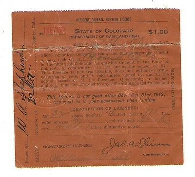 Colorado CO Resident General Hunting License 1912