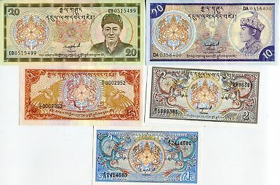 Bhutan Set 5 Pcs 1 2 5 10 20 Ngultrum Nd 1985 P 12 13 14 15 16 Unc