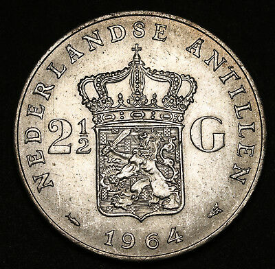 1964 Netherlands Antilles 2-1/2 Gulden KM# 7 Silver Crown Sized Coin