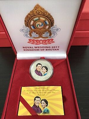 Bhutan 500 Ngultrum Coin Silver Proof 2011 King Jigme Wedding Comm. W Box Unc