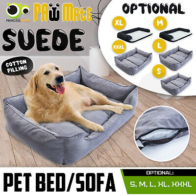 Soft Pet Bed Dog Cat Sofa Basket Cushion Suede Fleece Lining Washable S M L XL