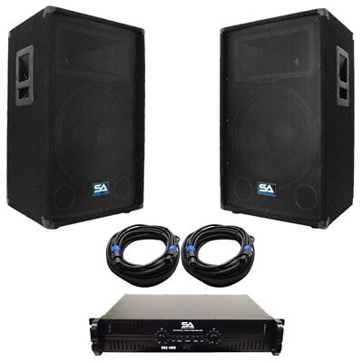 """Seismic Audio Pair of 15"""" PA DJ Speakers with Amplifer & 50' Cables"""