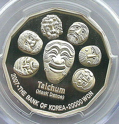 South Korea 2007 Mask Dance 20000 Won Silver Coin,Proof