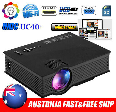 UC40+ Wifi Wireless HD 1080P LED Video Projector Home Theater SD/USB/VGA/HDMI AU