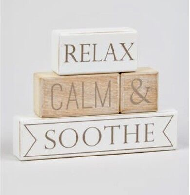 RELAX CALM & SOOTHE WORDS PHRASE WOODEN BLOCK ORNAMENT SIGN Bathroom Spa