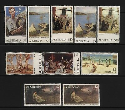 Australia 1974 / 1981 Collection 10 High Value Paintings Stamps Unmounted Mint