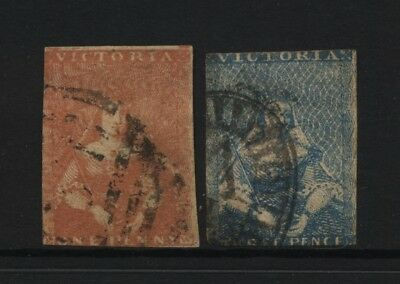 Australian States Victoria 2 QV 1d + 3d Half Length Queen on Throne Stamps Used