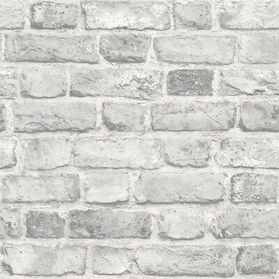GranDeco Home-Vintage Brick Wallpaper A28903 Grey