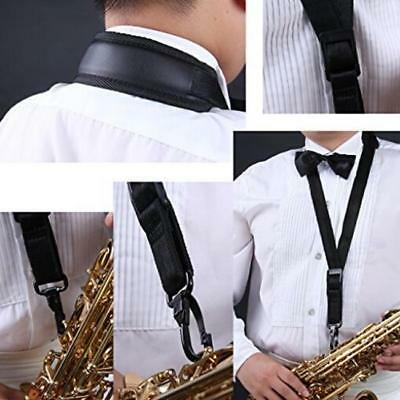 Black Adjustable Padded Sax Saxophone Neck Strap With Open Snap Hook Harness LC