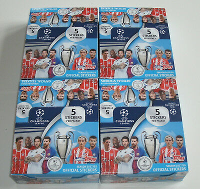 Topps Champions League 2017/2018 Sticker - 4 x Display / 120 Tüten NEU