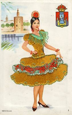 Lady from Sevilla, Spain in a heavily embroidered dress
