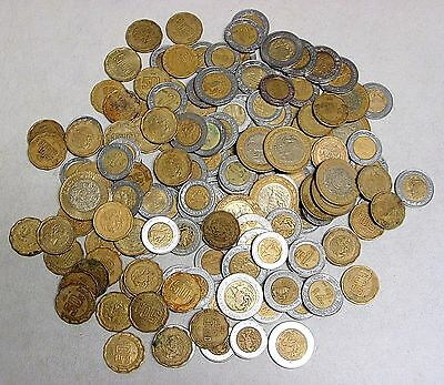 Lot of 147 Circulated Mexican Pesos - 50 Cent, $1, $2, $5, $10