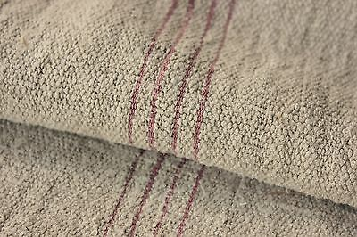 GRAINSACK hemp grain sack PATCHED n grain sack PINK stripes NUBBY washed old