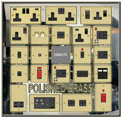 Polished Brass Usb Double Sockets Standard Or Led Dimmer Light Switches Etc