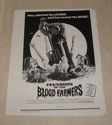 1972 INVASION of the BLOOD FARMERS ADVERTISING MOVIE PRESSBOOK BLOODY HORROR