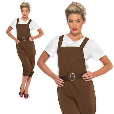WW2 Land Girl Costume 1940s Army Munitions Womens Ladies Fancy Dress Outfit