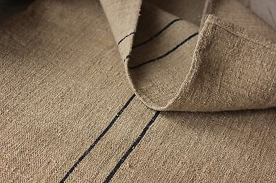 Antique GRAIN SACK vintage GRAINSACK old linen HEMP BLACK GRAY stripe