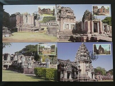 archaeology temple buddhism set of 4 maximum card Thailand 72065