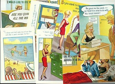 8 Old Saucy Seaside Postcards - Unused - Ex Con - All Pictured.